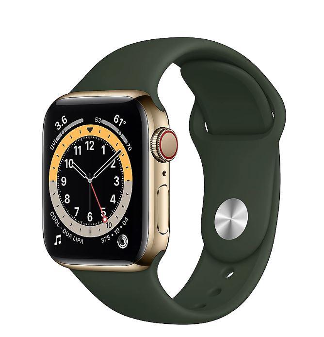 Bild zu [TOP] Apple Watch Series 6 LTE (40mm, Edelstahlgehäuse, Gold, Sportarmband, Zyperngrün) für 549€ (VG: 700,86€)