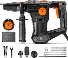 Bohrhammer, 1050W Abbruchhammer mit 4 Funktionen, 5J Schlagstärke, 4350BPM, 900RPM, SDS-P[...]