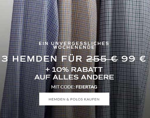 Bild zu Charles Tyrwhitt: bis Sonntag 3 Hemden für 99€ + 10% Rabatt auf ALLES