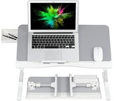 COKWEL Laptoptisch fürs Bett Couch Sofa mit Schublade Klappbar, Höhenverstellba[...]