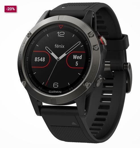 Bild zu Galeria: Smartwatches und Armbanduhren zu Bestpreisen dank 20% Rabattgutschein – z.B. Garmin Multisport Smartwatch Fenix 5 für 319,99€ (VG: 449€)