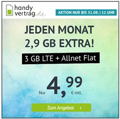 Bild zu Handyvertrag.de: 3GB LTE Datenflat + Allnet Flat im o2 Netz für 4,99€/Monat