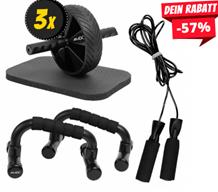 Bild zu SportSpar: JELEX Trio 3-in-1 Workout-Set (Liegestützgriffe, Springseil, Bauchtrainer) für 23,14€ (VG: 44,99€)