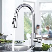Küchenarmatur, Küchenarmatur mit Herausziehbarer Dusche, 3 Modi Smart Pause, Nickel- und [...]
