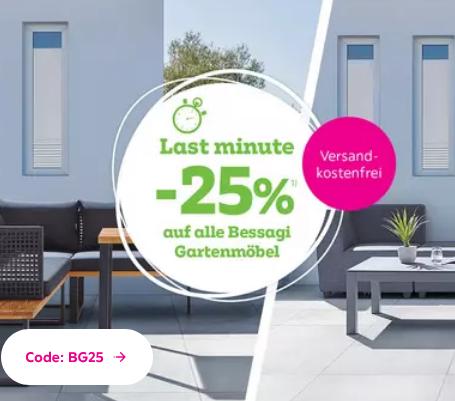 """Bild zu Mömax: 25% Rabatt auf alle Bessagi Gartenmöbel + kostenloser Versand, z.B. Hollywoodschaukel """"Elisa"""" inkl. Auflagen für 149,25€ inkl. Versand"""