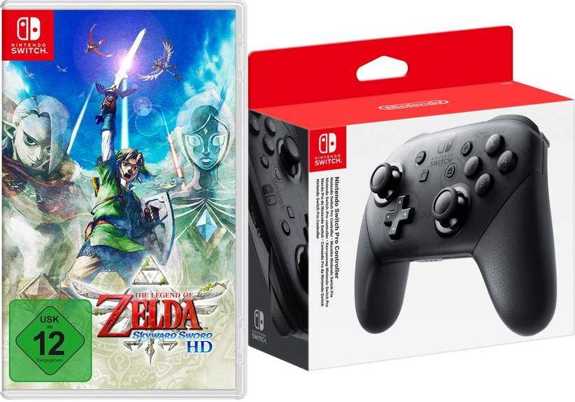 Bild zu The Legend of Zelda: Skyward Sword HD + Nintendo Switch Pro Controller Bundle für 79,99€ (VG: 107,74€)