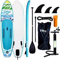 VINGO SUP Aufblasbares Stand up Paddle Board Set Ideal für Einsteiger, mit Pumpe, 3-TLG v[...]