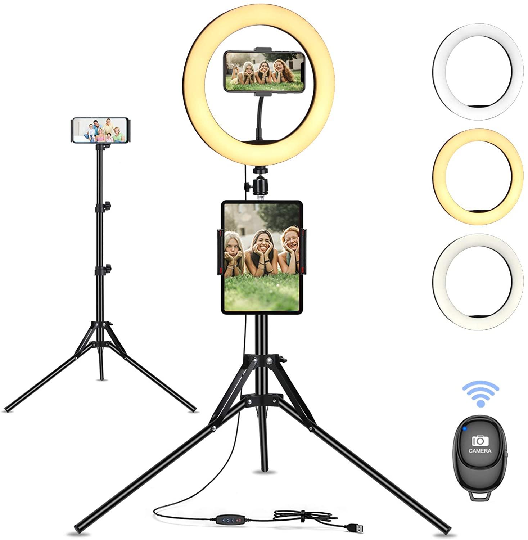 Bild zu 10 Zoll Ringlicht mit Stativ, 10 Helligkeitsstufen und 3 Lichttemperaturen für 16,49€