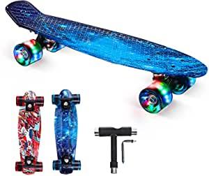 Bild zu 56 cm Mini Cruiser Skateboard mit ABEC-7 Kugellager und LED-Leuchtrollen für 15,56€