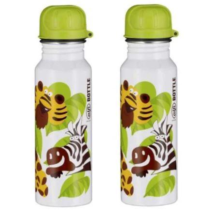 Bild zu [TOP] 2x alfi Edelstahl Trinkflasche 600ml (Jungle weiß, absolut dicht, spülmaschinenfest, BPA-Frei) für 9,98€ (VG: 27,72€) und jede weitere Flasche für 4,99€