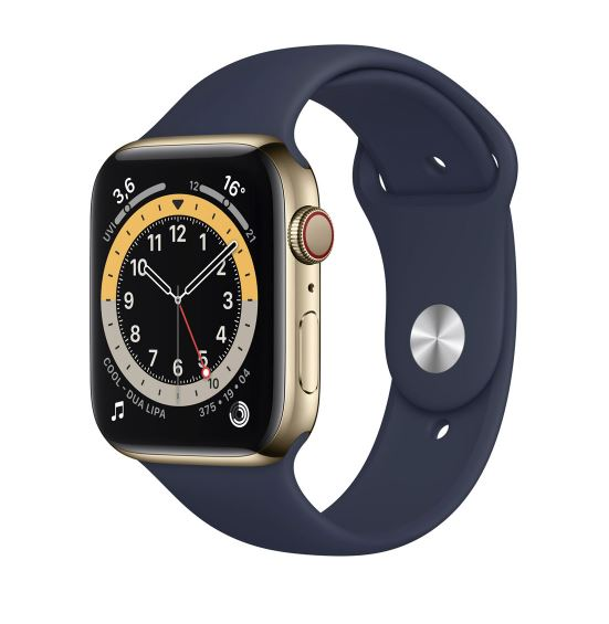 Bild zu [ausverkauft] Apple Watch Series 6 (GPS+Cellular) Gold Edelstahl 44mm Sportarmband dunkelmarine für 548,43€ (VG: 663,55€)