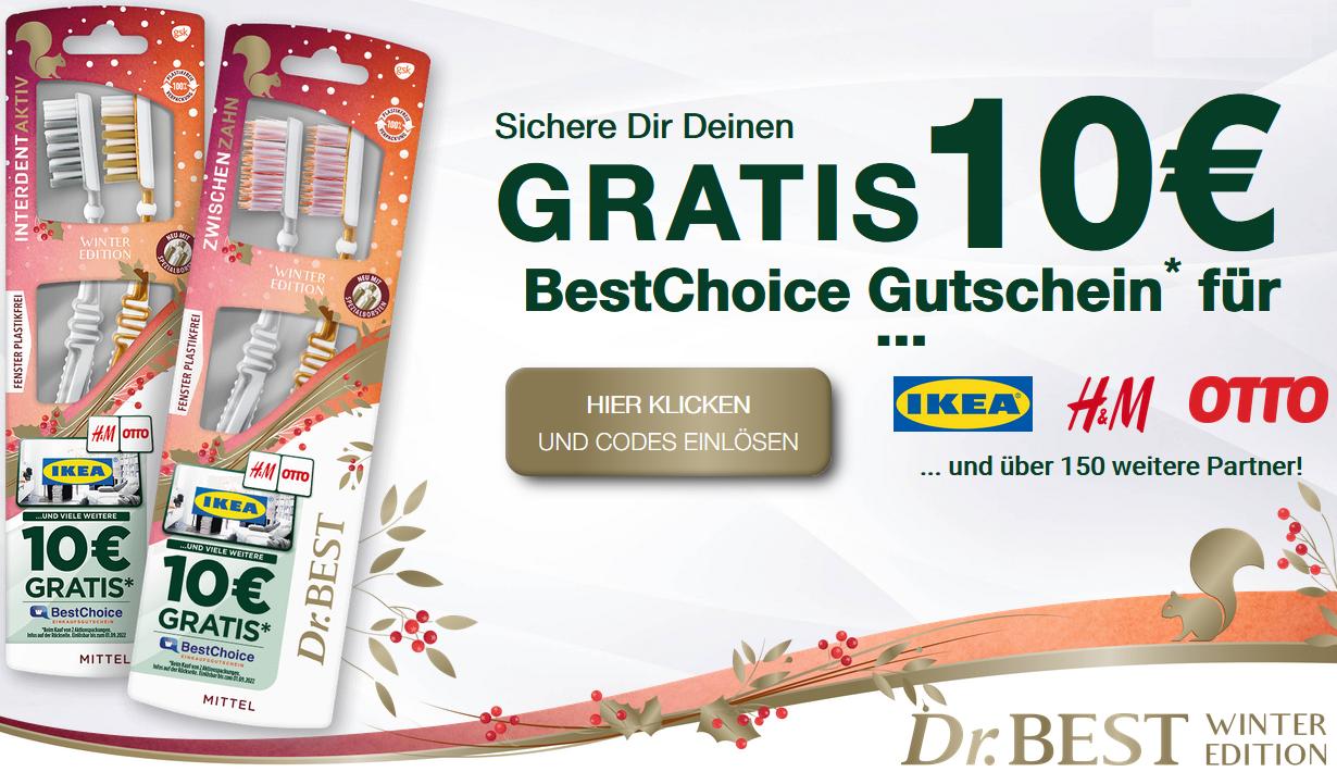 Bild zu 10€ BestChoice Gutschein beim Kauf von zwei Dr. Best Winter Edition Aktionspackungen