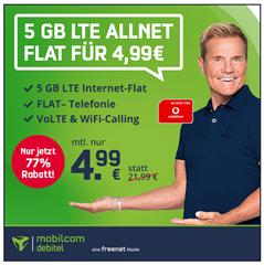 Bild zu [Top – endet Dienstag um 14 Uhr] Vodafone 5GB LTE Datenflat mit Sprachflat für 4,99€/Monat