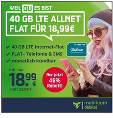 Bild zu [neuer Bestpreis] Allnet Flat, SMS Flat und 40GB Datenflat (bis 225 Mbit) im o2 Netz für 18,99€/Monat – monatlich kündbar