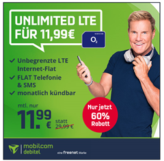 Bild zu [endet um 20Uhr] o2 Unlimited LTE Datenflat (bis 2Mbit/s) inkl. Sprach–und SMS Flatrate für 11,99€/Monat – monatlich kündbar