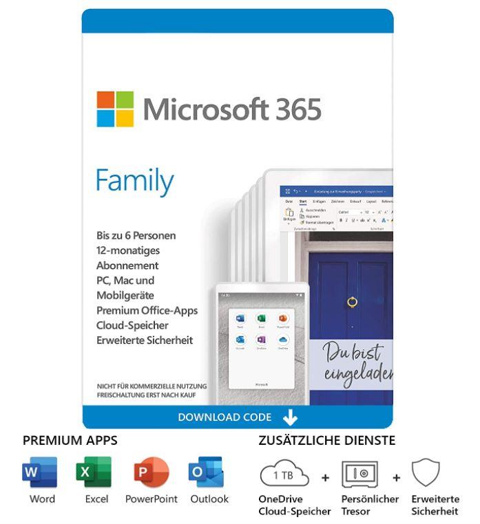 Bild zu Microsoft Office 365 Family für 6 Nutzer und 1 Jahr für 49,99€(VG: 57,99€)