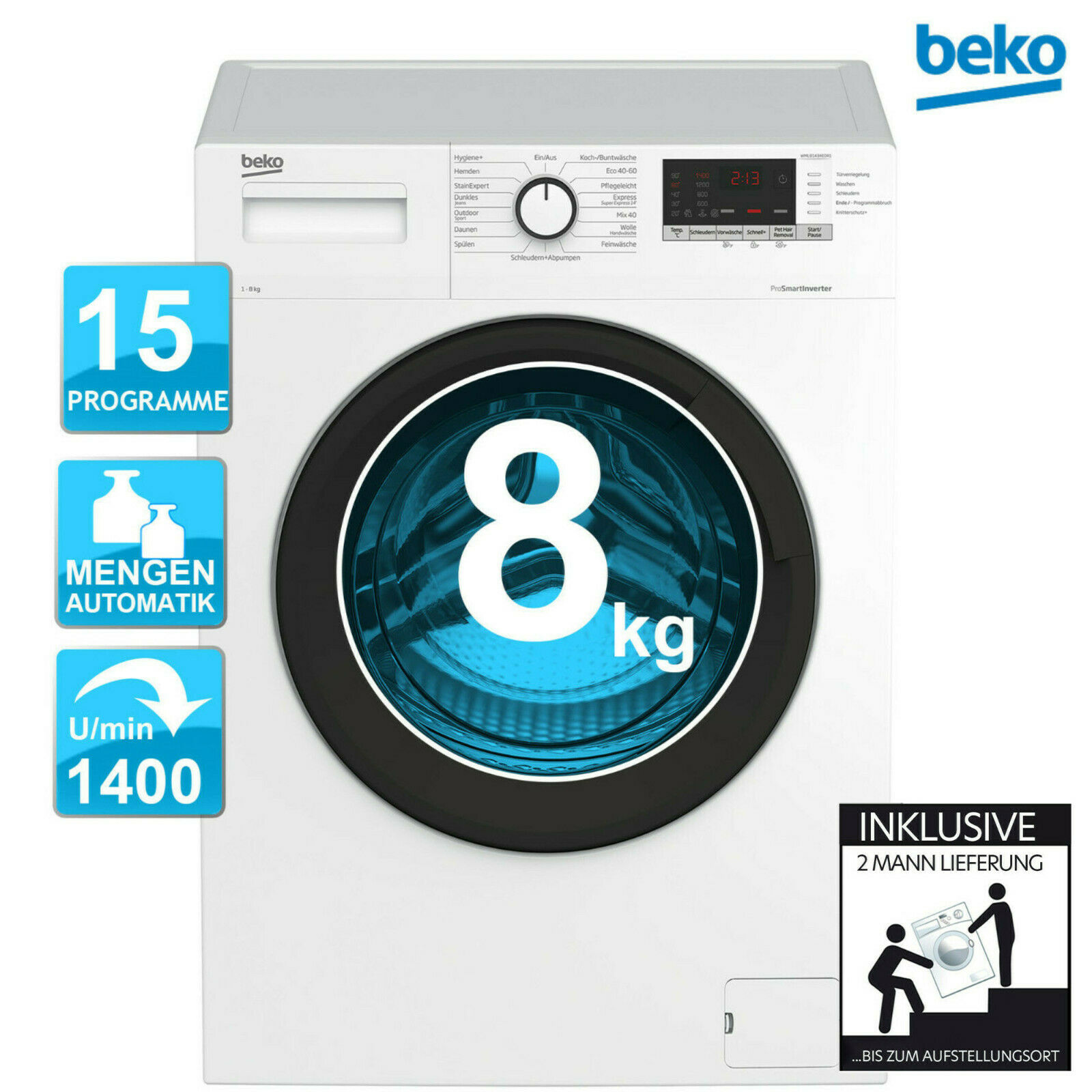 Bild zu 8 kg Waschmaschine BEKO WML81434EDR1 für 269,91€ (Vergleich: 324,99€)