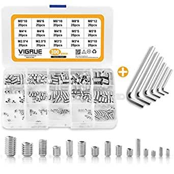 Bild zu 300 Stück VIGRUE Madenschrauben (M2.5 M3 M4 M5 M6 M8) für 10,79€