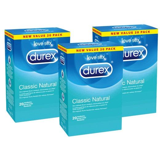 Bild zu 60 Durex Classic Natural Kondome für 25,90€ (Vergleich: 49,42€)