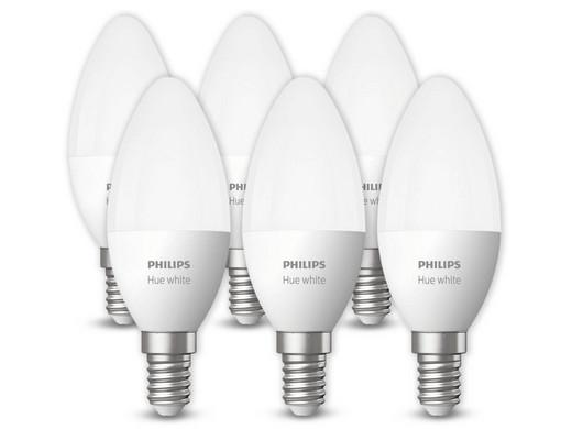 Bild zu 6er Pack Philips Hue LED-Lampen (5,5 Watt, Warmweiß, E14) für 55,90€ (Vergleich: 78,06€)