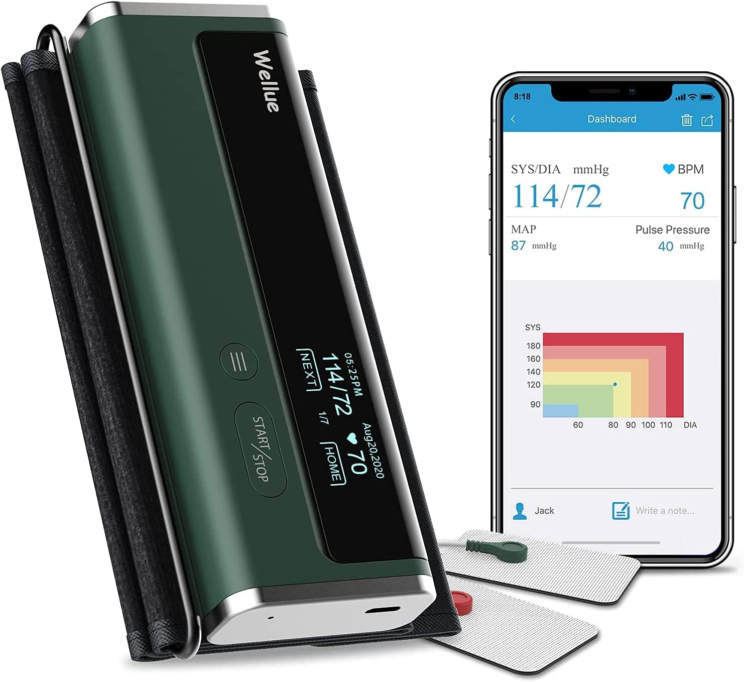 Bild zu Wellue Blutdruckmessgerät mit Bluetooth und großer Manschette für 65,99€