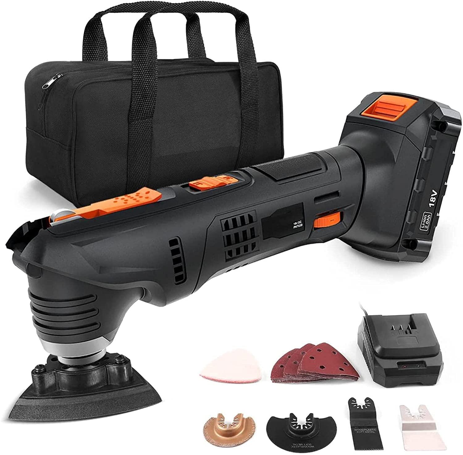 Bild zu 18 Volt Tacklife Multifunktionswerkzeug mit sechs Geschwindigkeiten und 24 Zubehörteilen für 28,46€