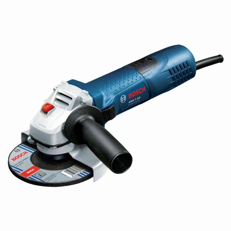 Bild zu Bosch Professional GWS 7-115 Elektrischer Winkelschleifer (720W, inkl. Zusatzgriff und Zubehör) für 44,12€ (VG: 51,74€)