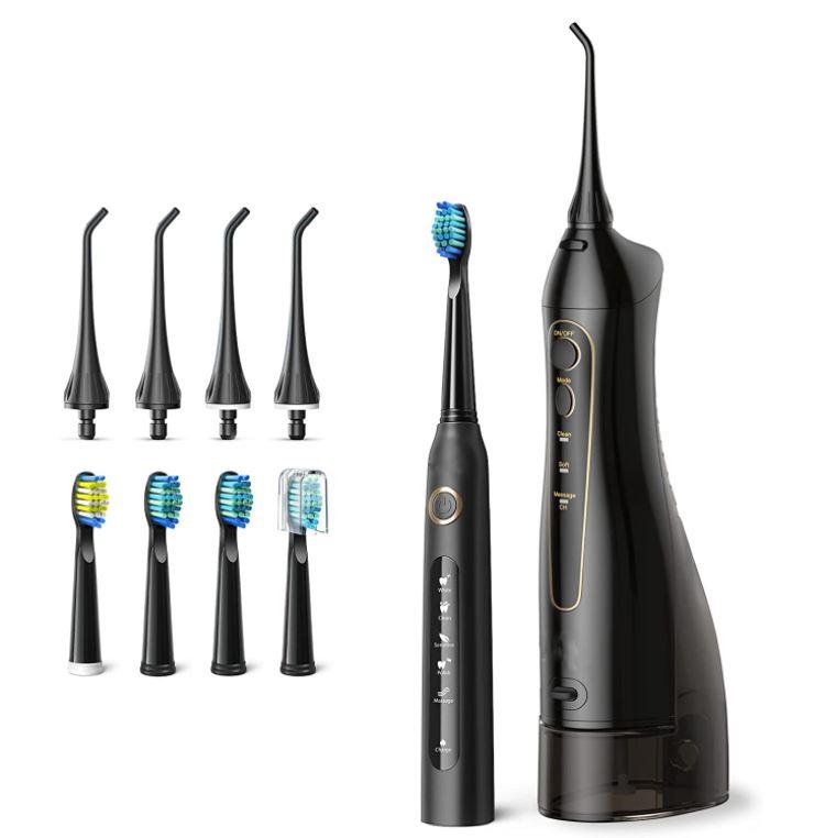 Bild zu elektrische Zahnbürste mit Munddusche (mit 4 Bürstenköpfen und 4 Duschaufsätzen) für 29,99€