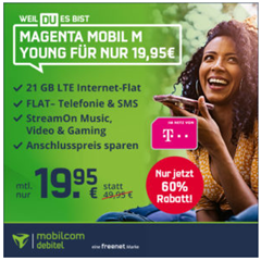 Bild zu [endet heute – Telekom Netz] Magenta Mobil M Young Tarif (21GB LTE + Allnet-/SMS-Flat + StreamOn Music, Video & Gaming) für 19,95€/Monat