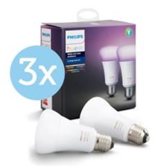 Bild zu 3 x 2er Pack Philips Hue White and Color Ambiance Doppelpack E27 für 185,90€ (Vergleich: 209,85€)