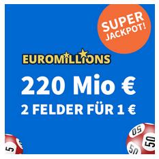 Bild zu [Rekordjackpot] Ziehung heute: 220 Millionen Jackpot –  2 Felder EuroMillions für 1€ (anstatt 6€) für Neukunden