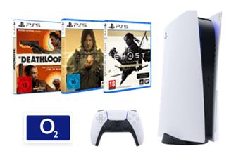 Bild zu Sony PlayStation 5 Disc Edition für 99€ inkl. 3 Spielen mit 40GB 5G Datenflat, SMS und Sprachflat im o2 Netz für 34,99€/Monat + 100€ Wechselbonus