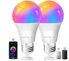 Bild zu 2er Pack ANTELA smarte Glühbirnen (Alexa, App Steuerung etc.) für 11,39€