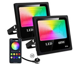 Bild zu 2er Pack 60W Outdoor RGB LED Strahler mit APP-Steuerung für 47€