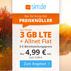 Bild zu o2 Tarif mit einer 3GB LTE Datenflat, SMS und Sprachflat für 4,99€/Monat