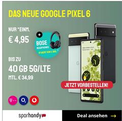 Bild zu Google Pixel 6 (VG: 649€) inkl. Bose Headphones 700 (VG: 263€) für 4,95€ mit 40GB LTE Datenflat, SMS und Sprachflat im o2 Netz für 34,99€/Monat + 100€ Wechselbonus
