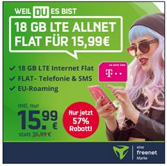 Bild zu Telekom green LTE mit 18GB LTE Datenflat, SMS und Sprachflat für 15,99€/Monat