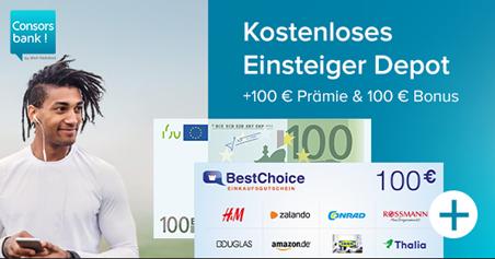 Bild zu [Super – nur diese Woche] 200€ Gesamtprämie für kostenloses Consorsbank Depot