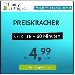 Bild zu 5 GB LTE Datenflat und 60 Freiminuten im o2 Netz für 4,99€/Monat–monatlich kündbar