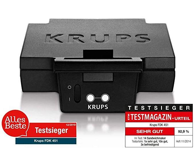 Bild zu Krups FDK 451 Sandwich-Toaster, 850 Watt, schwarz für 31,08€ (VG: 38,55€)