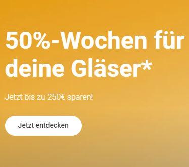 Bild zu Mister Spex: 50% Rabatt auf Gläser & Veredelungen bei Brillen und Sonnenbrillen mit Sehstärke