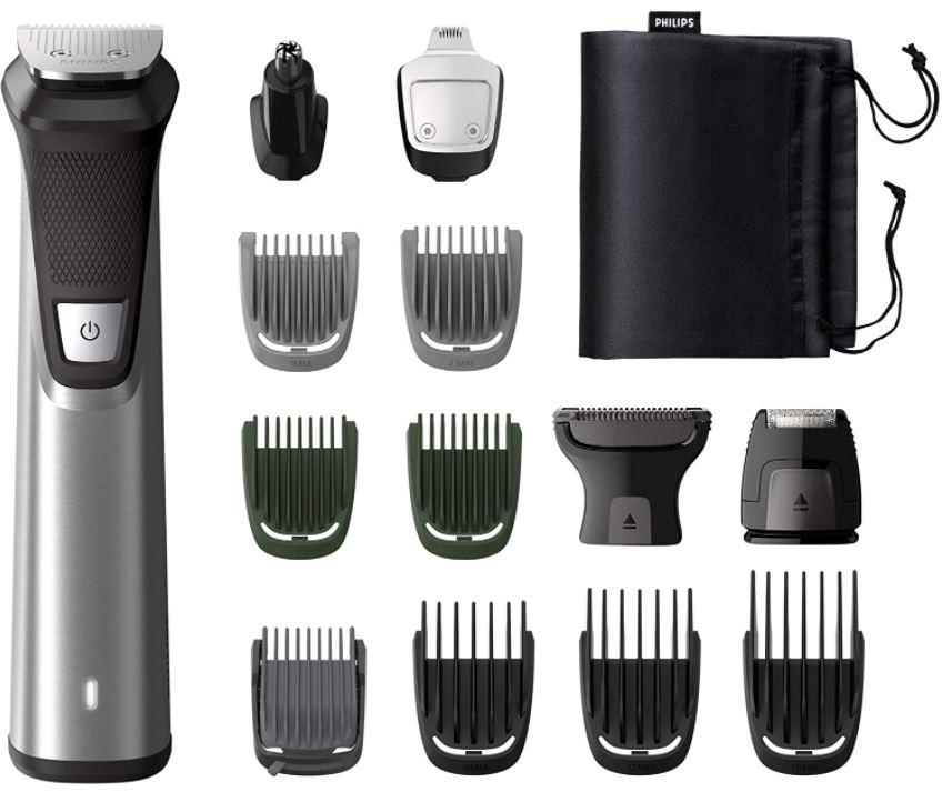 Bild zu Philips MG7745/15 Multigroom (14 Aufsätze für Gesicht, Haare und Körper, Metalltrimmer, wasserfest, 180min Akkulaufzeit) für 53,69€ (VG: 60,55€)