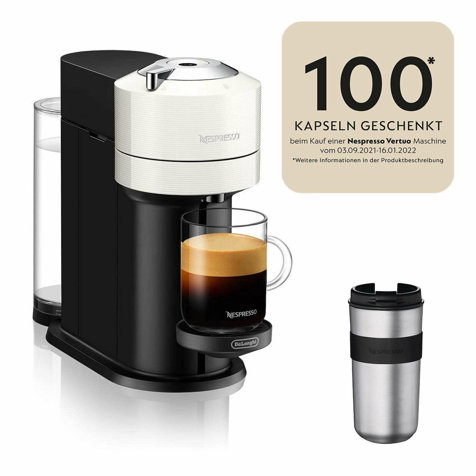 Bild zu Nespresso Kapselautomat DeLonghi ENV120.W Vertuo Next Basic + 100 Kapseln + Travel Mug 400ml für 41,93€ (Vergleich: 54,99€)