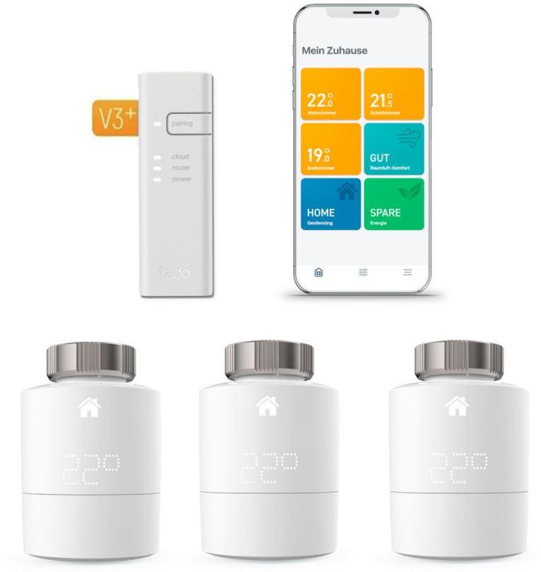 Bild zu tado° Smartes Heizkörper-Thermostat Starter Kit V3+ mit 3 Thermostaten & Bridge für 169€ (VG: 215,04€)