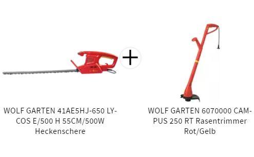 Bild zu WOLF GARTEN 41AE5HJ-650 LYCOS Heckenschere (55CM/500W) + gratis Wolf Garten Rasentrimmer für 54,99€ (VG: 100,94€)